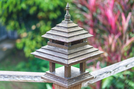 Lamp balustrade, Wooden Railing by Thailand style, background out of focus photo