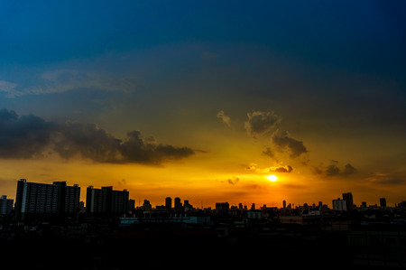 Panorama view of the city at twilight. Thailand, Bangkok, the center photo