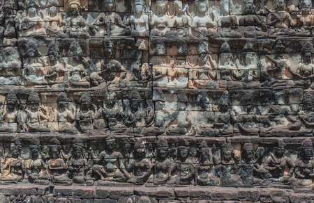 Stone Carving of Angkor Wat Temple, Siem Reap, Cambodia. photo