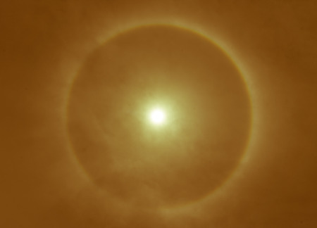 corona: blurry of corona, ring around the sun, Orange color tone