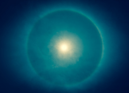 corona: blurry of corona, ring around the sun, blue color tone