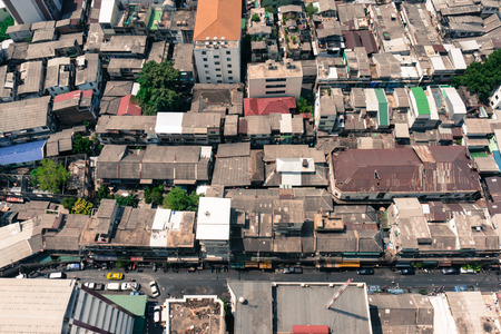 topdown: Top View of Rooftops Old neighborhoods in Bangkok, Thailand, Old Polar style