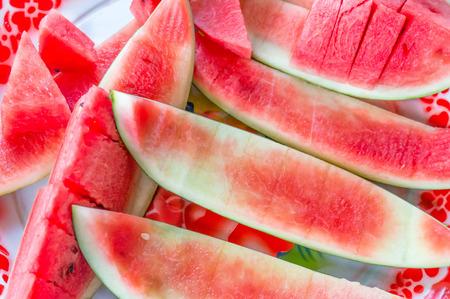 lemony: The watermelon into chunks, fruite for summer Stock Photo
