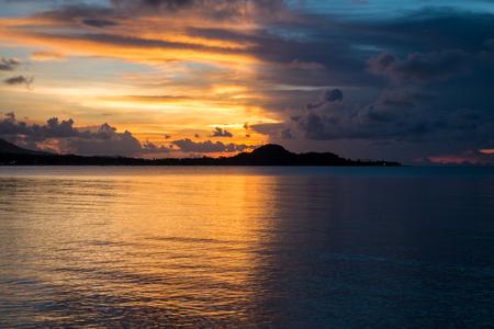 samui: Sunrise with Bright side with dark side.at Samui island, Thailand