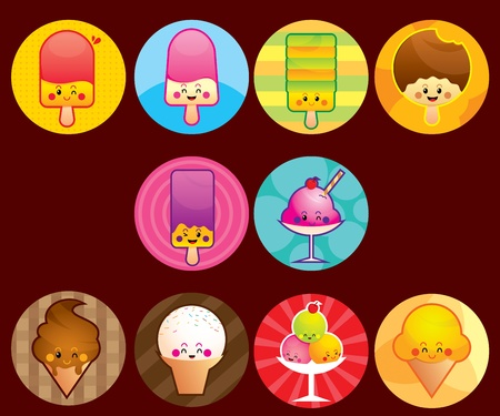 Cute Ice cream buttons Vector