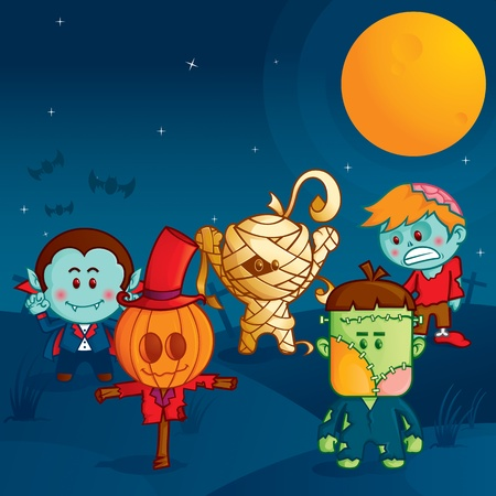 halloween monster parade Illustration