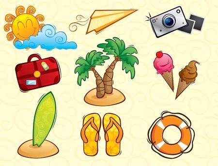 playa caricatura: Vacaciones paquete de vectores