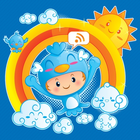 cartoon rainbow: A funny illustration of happy boy in blue bird costume