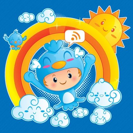 arcoiris caricatura: Un ejemplo divertido de niño feliz en traje de pájaro azul