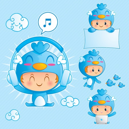 Character set of happy boy in blue bird costume in 4 different pose 向量圖像