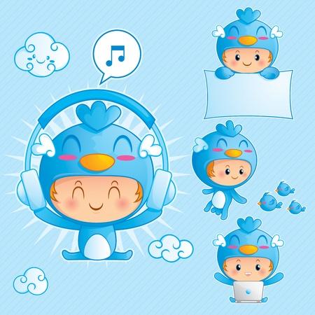 pajaro azul: Juego de caracteres de ni�o feliz en traje de p�jaro azul en 4 pose diferente