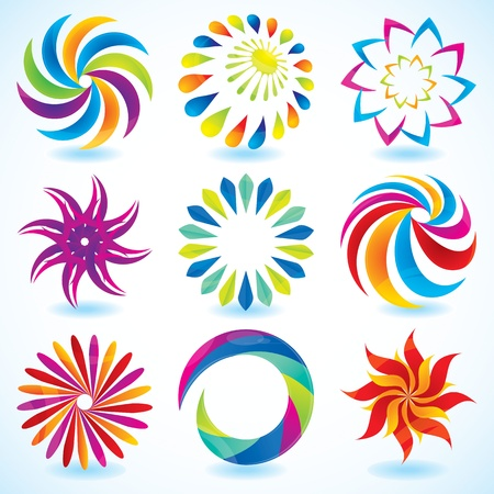 a set of colorful & shiny design element (circle based) Illustration
