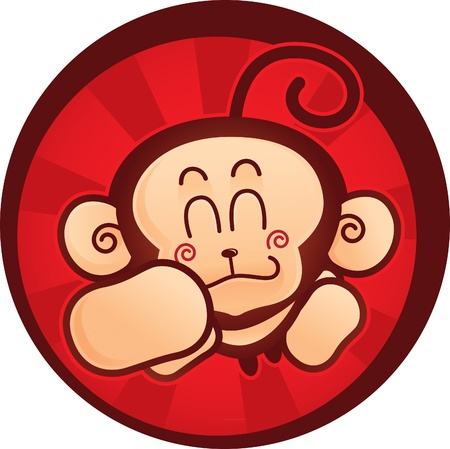 cute mascot of a monkey suitable for mascot on food packaging, brand or merchandise.  Illustration