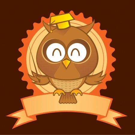 Owl Mascot an as a symbol of education and science Vector