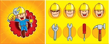 問題を解決するために実行している修理工マスコットは見られました。式とマスコットのツールを変更することができます。  イラスト・ベクター素材