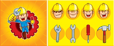 Repairman mascot, was seen running to solve problems. You can change the expression and the tool of the mascot 向量圖像
