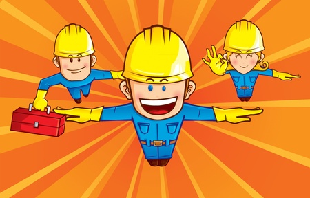 solver: A team of repairman superhero, was seen flying  with sunburst background. smart grouping, character and background separated in different layer Illustration