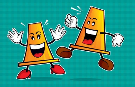 be careful: safety cone mascot. An illustration of a safety cone couple, warn you to always be vigilant and careful