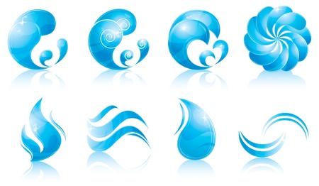 水 & 波アイコンを設定  イラスト・ベクター素材