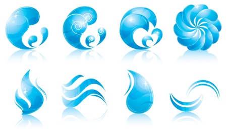 water logo: water & wave icon set Illustration