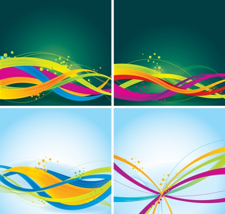 colorful wave backgrounds collection  Each background separately on different layers
