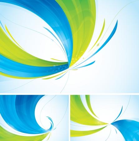 ダブルトーン抽象的な背景の抽象的な背景コレクション 2 つの異なるレイヤーで個別に各背景色青と緑