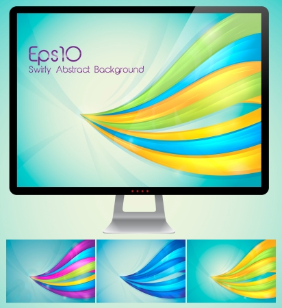 Swirly Abstract Background  A set of swirly abstract background  Each background separately on different layers  Stock Vector - 14474031