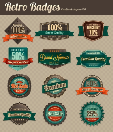Retro badges - combined Stock Vector - 17674632