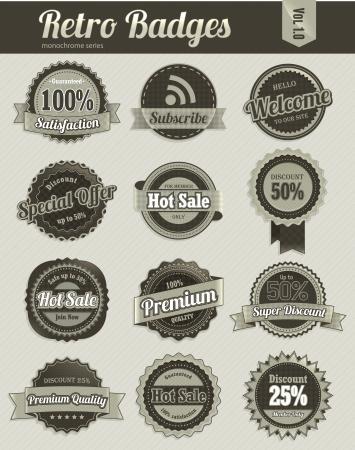 Retro badges  monochrome  Stock Vector - 17674641