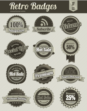Retro badges  monochrome  Illustration