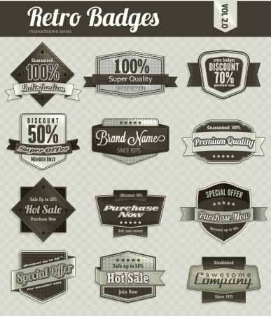 Retro badges  monochrome  Stock Vector - 17674643