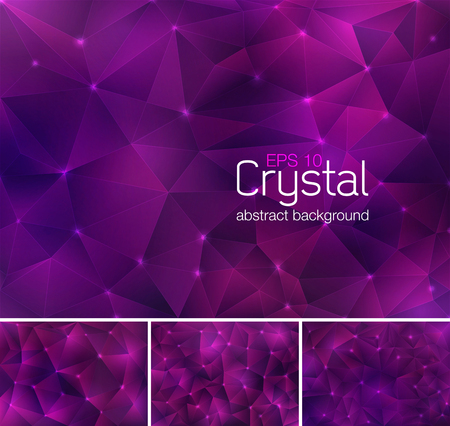violaceous: Polygonal crystal abstract background. Each background separately on different layers.  Available in 4 variants and created in RGB mode