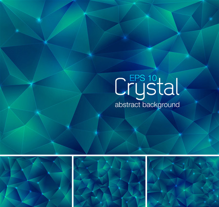 greenish blue: Polygonal crystal abstract background. Each background separately on different layers.  Available in 4 variants and created in RGB mode