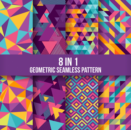 Geometric seamless pattern background collection. Available in 8 different forms, suitable for your design elements and background Illustration
