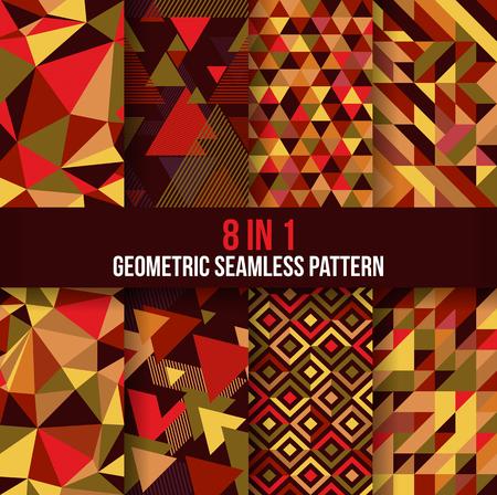 Colección de fondo de patrones geométricos sin fisuras. Disponible en 8 formas diferentes, adecuadas para sus elementos de diseño y fondo