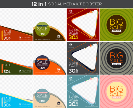 Multipurpose social media kit booster. Available in 12 alternate design, suitable for your promotion