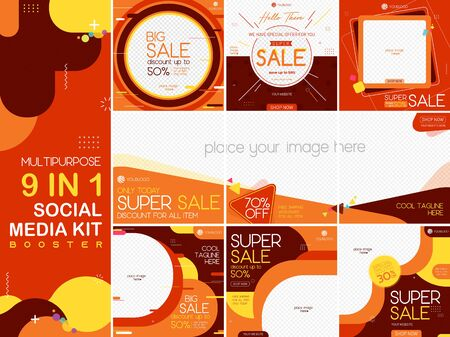 Geometric multipurpose social media kit booster. Available in 9 alternate design, suitable for your promotion
