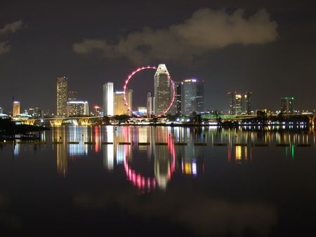 barrage: Nice city view with light reflection from Marina Barrage