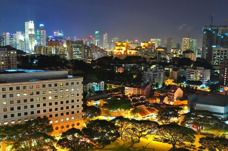 Beautiful view of high rise and low rise buildings at Orchard and CBD area (Singapore) by night photo