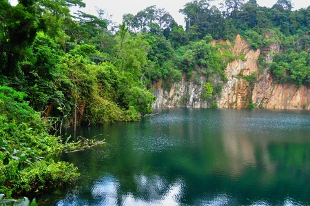 bukit: Hindhede Quarry at Bukit Timah with trees on the left Stock Photo