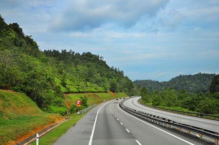 winding: Scenic view of Highway in Malaysia Stock Photo