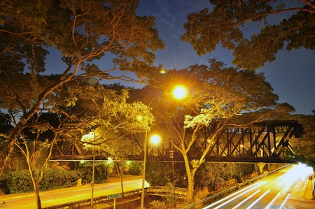 bukit: Old railway bridge surrounded by trees by night, at Bukit Timah area, Singapore