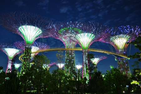 the illuminated big trees with elevated skyway at Garden by the Bay, Singapore