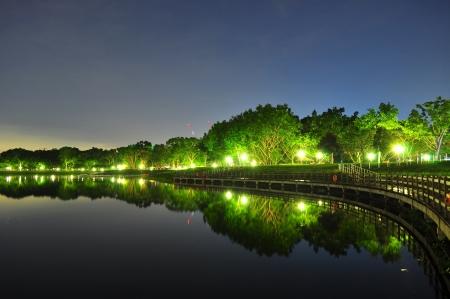 Bedok Reservoir por la noche con los árboles iluminados y su reflejo