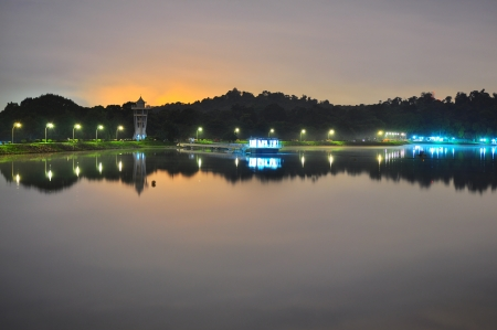 reservoir: A peaceful Upper Seletar Reservoir in Singapore  by night