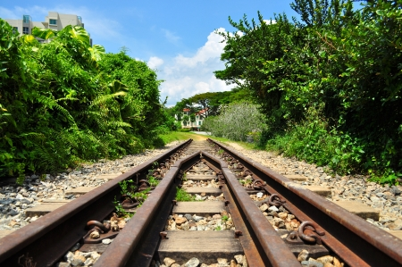 bukit: Wide view of old railway track around Rifle Range Road, Bukit Timah, Singapore