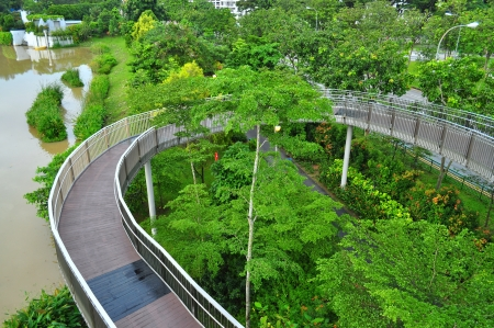 reservoir: Circular walkway at an observation tower by  Yishun Reservoir Stock Photo