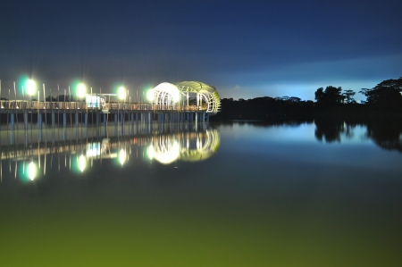 lighted: Lighted Jetty with its reflection at Lower Seletar Reservoir