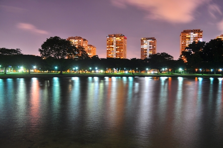 east coast: A Lagoon at East Coast Park, Singapore, with colourful light reflections on it, by night