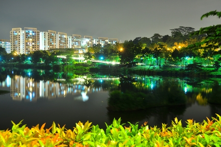 sg: Yishun Pond with plants as foreground and apartments and trees in the background Stock Photo